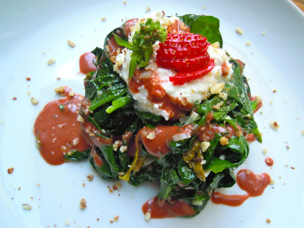 ... Spring Garlic, Hazelnuts, and Roasted Strawberry Balsamic Dressing